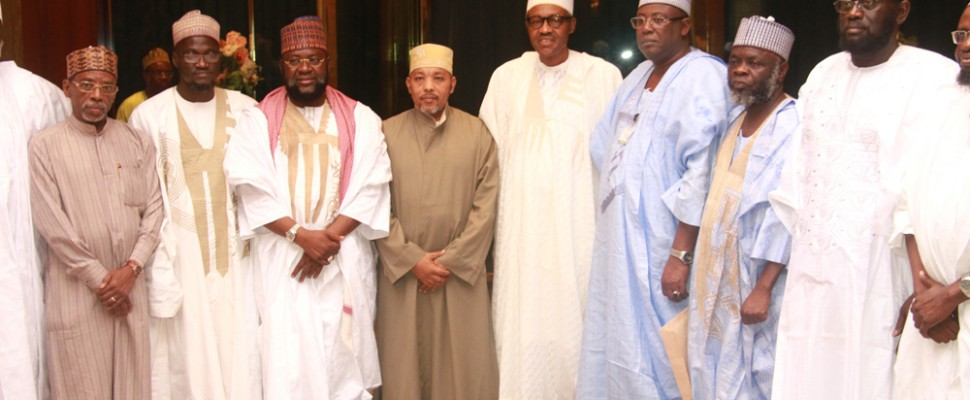 Pix. 6: President Muhammadu Buhari flanked by the President, Union of African Scholars, Dr. Said Bourhani and the Permanent Secretary Ministry of Interior, Alhaji Abdulkadir Magaji (3r) while from the left, Secretary General, Supreme Council for Shariah in Nigeria, Mall. Nafiu Baba Ahmad; Head of Research, Studies & Translation Committee, Dr. Abdul-Razzaq Abdul-Majeed Alaro and Member of the delegation, Sheikh Abdullah Bala Lao watched during an audience the President granted Islamic Scholars at the State House, Abuja. Photo by Abayomi Adeshida 01/09/2015